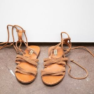 Leather Strappy Braided Sandals